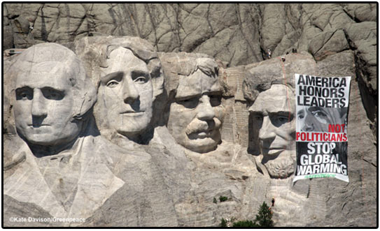 greenpeace, mt. rushmore, climate change, global warming, obama