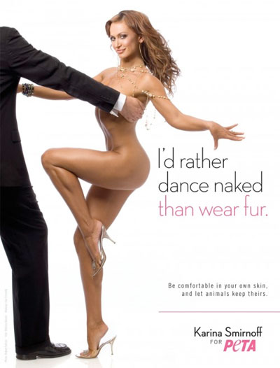 karina smirnoff, peta, animal rights, fur, naked, nude