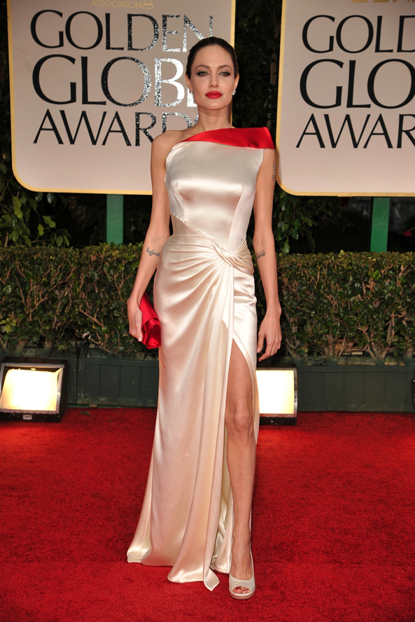 Angelina Jolie at the 2012 Golden Globes wearing Versace.