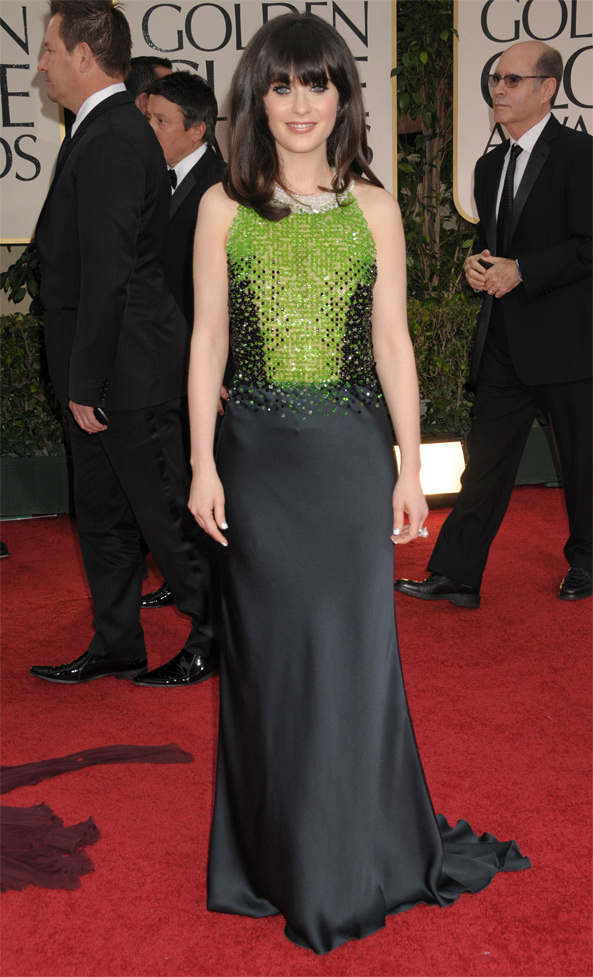 Zooey Deschanel at the 2012 Golden Globes Red Carpet