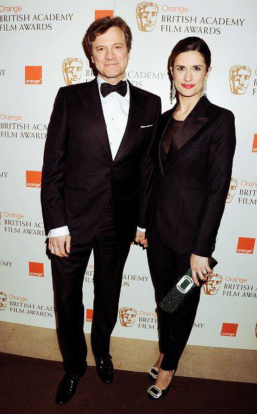 livia and colin firth wearing eco armani and paul smith for green carpet challenge at baftas