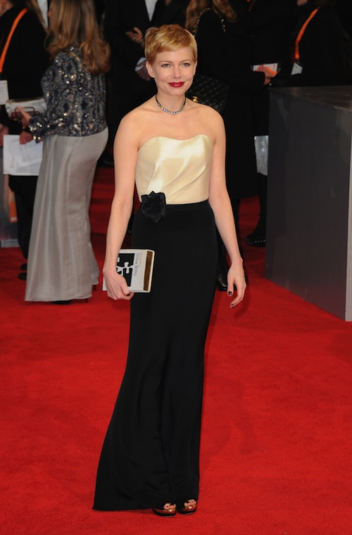 michelle williams in eco h&m dress at BAFTA awards