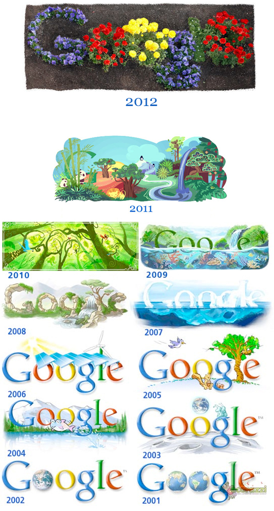 Earth Day logos from Google 2001-2012