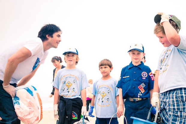 Ian Somerhalder and kids clean up California's beaches.