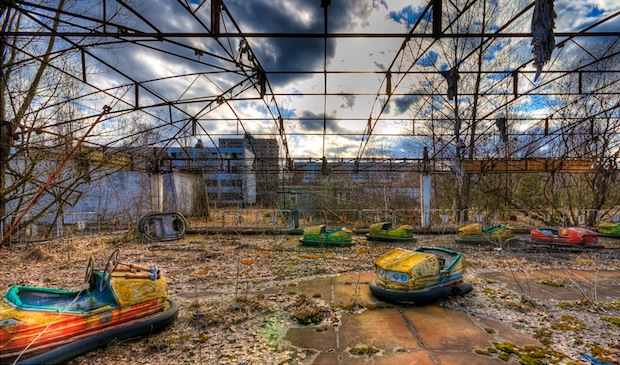 The decaying Ferris wheel and bumper cars have remained untouched since 1986.