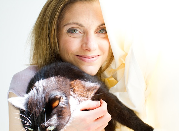 Kathy Patalsky and cat