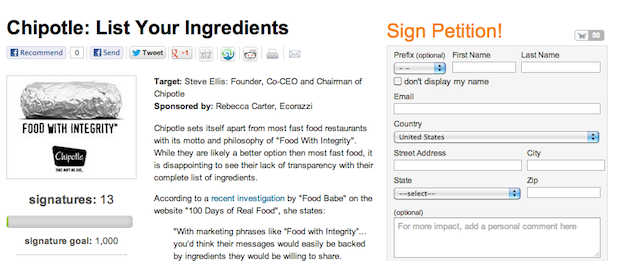 Please sign our petition if you want Chipotle to disclose their ingredients.