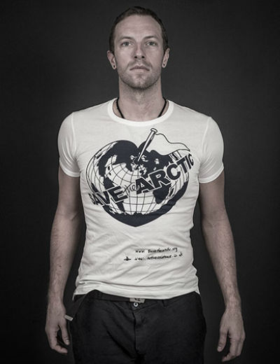 Chris Martin wears the Save the Arctic t-shirt