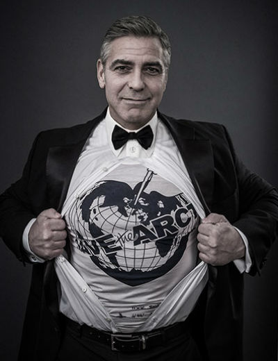 george clooney wears the Save the Arctic t-shirt